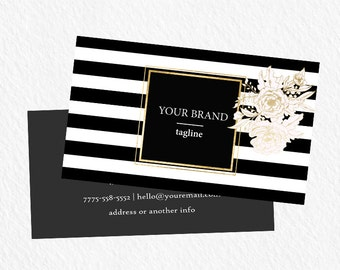 Custom business card design:Black strokes Business Card Template 016