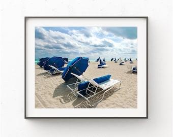 South Beach Miami Print, Beach Print, Beach Umbrellas, Miami Beach, Tropical Beach Art,