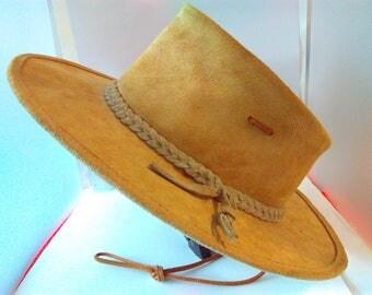 XL Vintage suede Australian bush hat, outback hat, cowboy hat, vintage bush hat, safari hat, vintage outback hat, vintage cowboy hat, hat