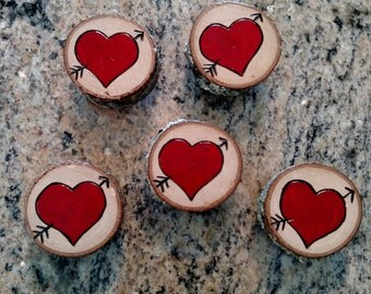 Wood Burned Heart Magnets - set of 4