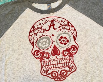 Alabama crimson tide, alabama sugar skull, sugar skull, roll tide, alabama football, raglan, christmas gifts