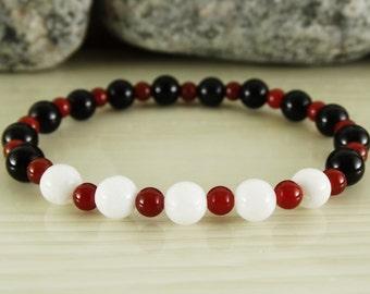 White jade bracelet black obsidian bracelet carnelian bracelet stretch bracelet beaded bracelet mala bracelet 4 mm bracelet elastic bracelet