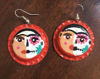 Painted Frida Kahlo inspired popcap earrings