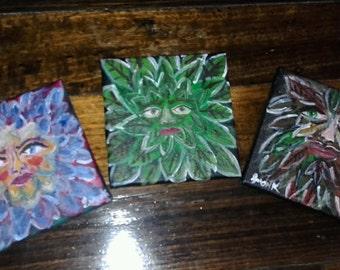 Canvas originals forest spirits pagan nymphs green man dryads fay  tree spirits fantasy wicca greenman folk