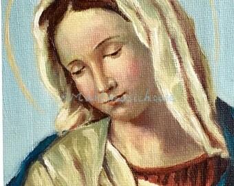 100% Handmade Mini Oil Painting, Madonna in Prayer, Saint Portrait,Catholic Religious Art,Catholic Painting,Catholic Gift,Virgin Mary