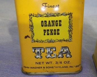 Vintage John Wagner Mini Tins Orange Pekoe and Jasmine