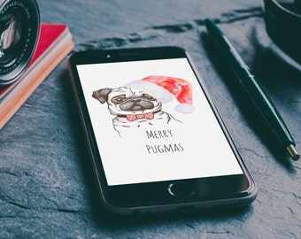 Merry Pugmas ,  Christmas Phone  desktop, iPhone 5/5s