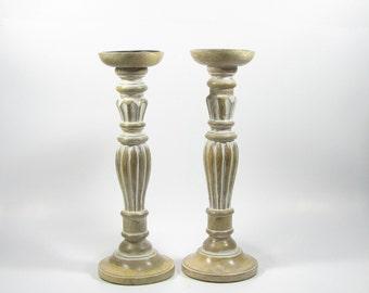 Set of 2.Candle holder,Pillar candle holder,wood candle holder,wooden pillar candle holder.Antique white distressed finish.