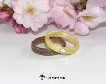Ensemble d'alliances de fiançailles en Noyer et en Erable avec un diamant