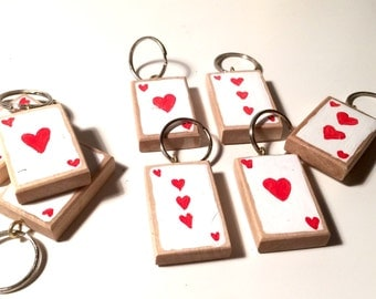 Heart playing Card Key Ring - Alice in Wonderland - Hand Painted