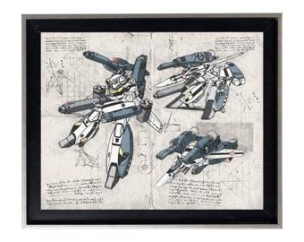 Robotech Roy Fokker Skull Leader Sketch Da Vinci Blueprint gallery matte print poster