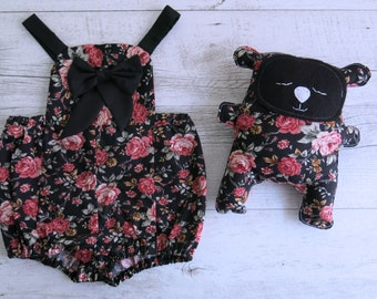 Floral Red & Black Romper Overalls Baby Matching Set Toy Bear Plush Cute Baby Outfit