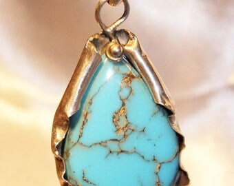 Blue Mojave Turquoise silver sterling jewels pendant HOMEMADE