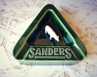 Advertising ashtray Sanders - Green Triangle - ceramic - ashtray vintage ashtray