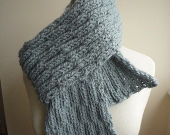 Pale blue wool and alpaca hand knit cabled scarf