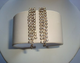 3 Strand Crystal Rhinestone Ice Dangle Earrings