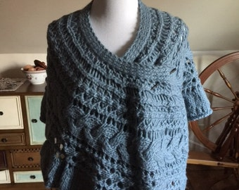Hand-knit Lace & Cable Wool Wrap