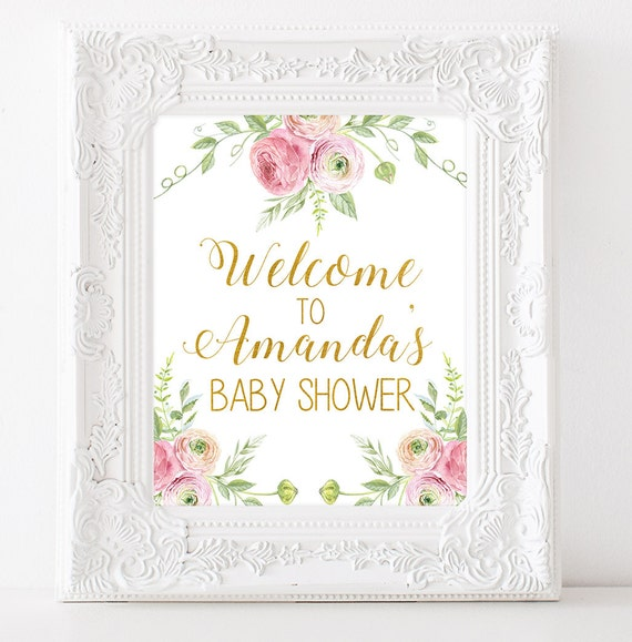 baby shower welcome sign baby shower printable sign floral