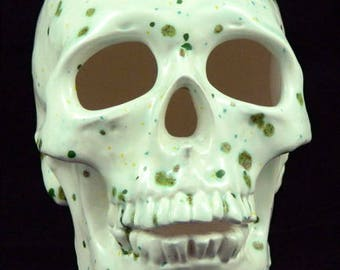 Realisitic White and Green Mossy Ceramic Human Skull, Halloween Gothic Day of the Dead Horror Decoration