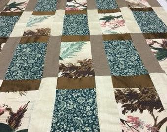 Unusual silk and vintage bark cloth quilt
