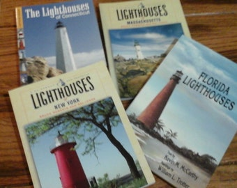 Lighthouse Book, Florida, Connecticut, Massachusetts, New York 4 books Lightkeepers Ocean life Beach Harbors Beacons Lakes
