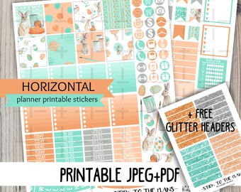 Horizontal Easter bunny printable planner stickers watercolor coral mint easter weekly sticker kit for use with Erin Condren LifePlannerTM