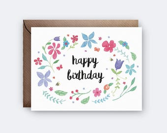 Floral Happy Birthday Card | Greeting Card | Illustration | Watercolour | Cute Card | Card for Her | Friend Birthday Card