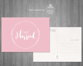 "Postcard pink ""Just married"""