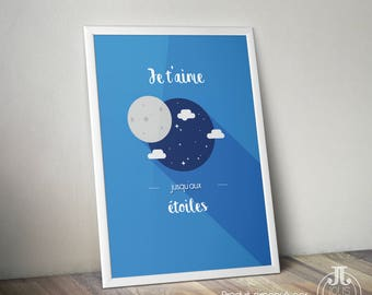 """Decorative child poster """"I love you to the stars"""" • Moon Stars Love"""