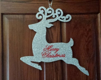 Large Silver Glittered Reindeer Merry Christmas