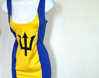 BARBADOS Flag Dress, Barbados Bodycon Dress, Cropover Costume, Carnival Costume, Bajan Flag .