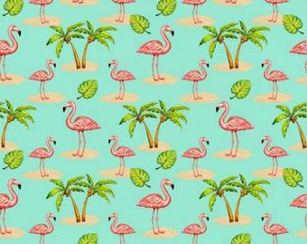Blank Quilting Pink Lady 8488-16 Flamingo With Palm Trees Aqua **Half Yard Cuts**