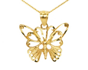 10k Yellow Gold Butterfly Necklace
