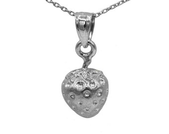 925 Sterling Silver Strawberry Necklace