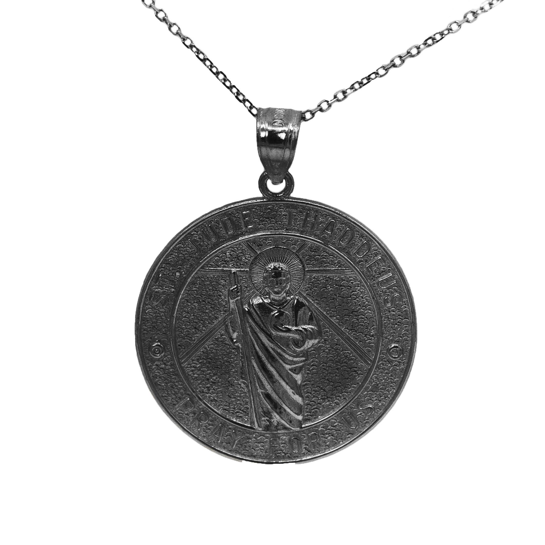 14k Black Gold Saint Jude Pray For Us Medallion Necklace