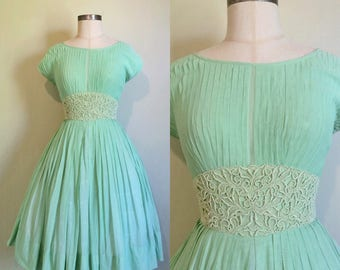 1950s Dress • 1950s mint green dress by R&k Originals