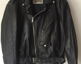 Durable Motorcycle Short Vintage Black Genuine Leather Jacket Men's Size Large.