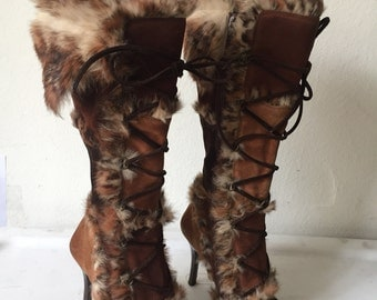 Real fur and suede boots classic style from soft leather and velvet fur, high boots stylish boots vintage warm women's brown boots size - 7.
