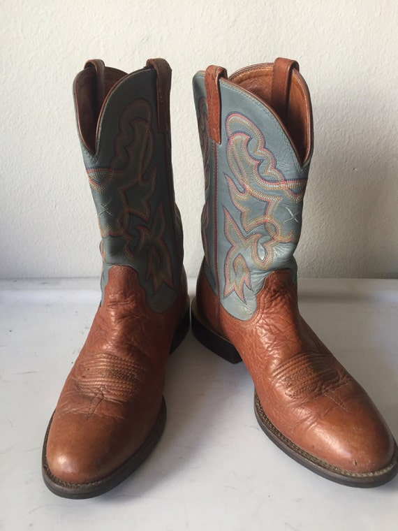 blue and brown s cowboy boots from real soft leather