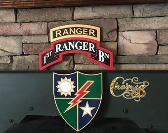 "15"" Army Ranger Tab Scroll DUI"