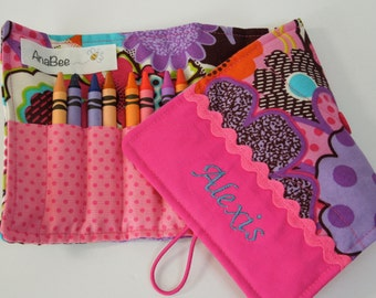 Personalized Crayon Roll - Pink Flowers, crayons INCLUDED, crayon roll-up, pencil case, 12+ crayons