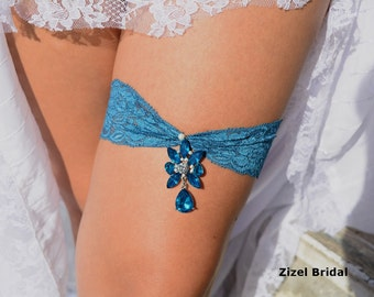 Wedding Garter Set, Wedding Garter Belt, Wedding Garter Teal, Wedding Garter Set, Stretch Lace Garter, Crystal Rhinestone, Garter Set, Gift