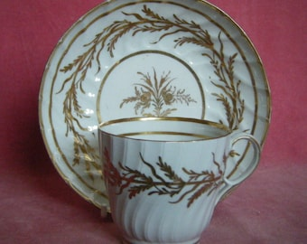 Antique c.1800 Sprially Fluted Coffee Cup and Saucer Probably Coalport