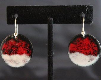 Beautiful Red and White Enameled Earrings (022017-025)