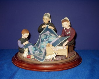 The Amish Heritage Collection:  Three Generations of Quilting Figurine by Ann M. Dezendorf