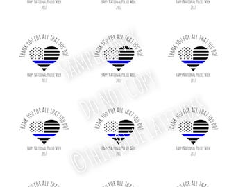 2017** Instant Download, Police Week, Police Appreciation, Printable, Gift Tags, Labels, Stickers, Cupcake Toppers, Digital File