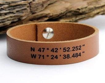 Personalized Bracelet, Custom Coordinate Bracelet, Men's Leather Bracelet, Engraved Leather Bracelet, Cristmas Gift, Bracelet for Men, Gift