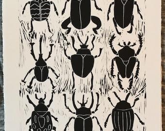 Beetles- linocut print