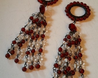Beaded tassels, red and white