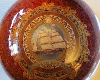Ship themed crystal paperweight, made in France scwwa